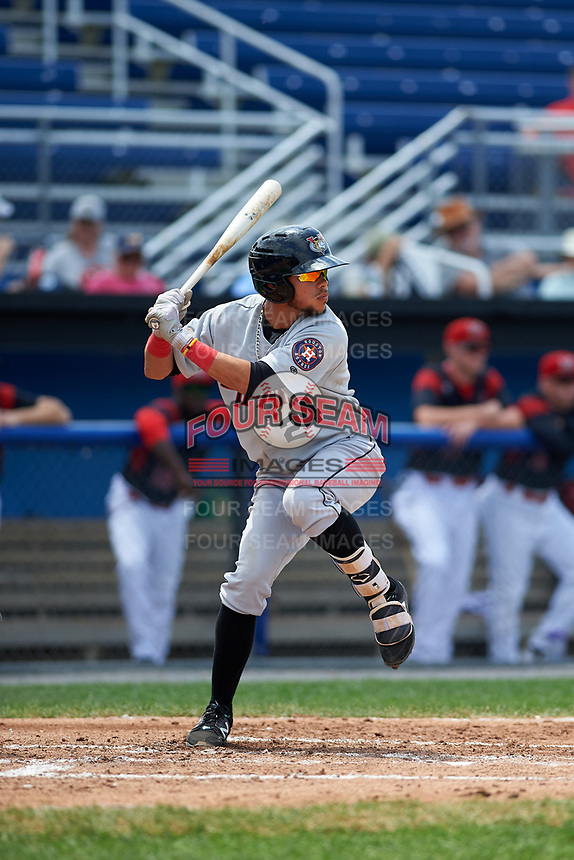 Tri-City ValleyCats third baseman Kristian Trompiz (24) at bat during a game against the Batavia Muckdogs on July 16, 2017 at Dwyer Stadium in Batavia, New York.  Tri-City defeated Batavia 13-8.  (Mike Janes/Four Seam Images)