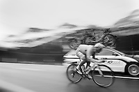 Sébastien Chavanel (FRA/FDJ.fr) speeding down the Passo San Pellegrino (1918m) in the rain<br /> <br /> 2014 Giro d'Italia<br /> stage 18: Belluno - Rifugio Panarotta (Valsugana), 171km