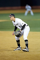 Wake Forest Demon Deacons first baseman Cole McNamee (40) on defense against the Florida State Seminoles at David F. Couch Ballpark on March 9, 2018 in  Winston-Salem, North Carolina.  The Seminoles defeated the Demon Deacons 7-3.  (Brian Westerholt/Four Seam Images)