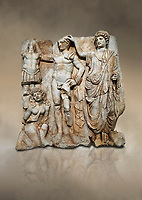 "Roman Sebasteion relief  sculpture of the Emperor and Roman People, Aphrodisias Museum, Aphrodisias, Turkey.  Against an art background.<br /> <br /> The emperor is a naked warrior and is crowned by a personification of the Roman People or the Senate wearing a toga, the stately civilian dress of a Roman Citizen. The crown is an oak wreath, the corona civica or ""civic crown"" awarded for saving citizens lives. The emperor is setting up a battlefield trophy beneath which kneels an anguished barbarian women captive"