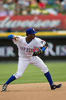 Round Rock Express shortstop Jurickson Profar #10 makes a throw to first base against the New Orleans Zephyrs in the Pacific Coast League baseball game on April 21, 2013 at the Dell Diamond in Round Rock, Texas. Round Rock defeated New Orleans 7-1. (Andrew Woolley/Four Seam Images).