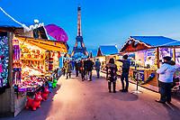 France, Ile-de-France, Paris, Tour Eiffel, Invalides, Trocadero Fountains, Eiffel Tower, Ville de Paris, The Christmas Village at the Trocadéro