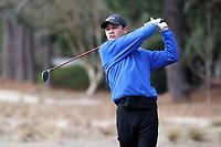 PINEHURST, NC - MARCH 02: Ian Siebers of Duke University tees off on the third hole at Pinehurst No. 2 on March 02, 2021 in Pinehurst, North Carolina.