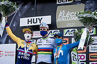 World Champion Julian Alaphilippe (FRA/Deceuninck - QuickStep) wins his 3rd Fléche and is standing next to 5-times winner Alejandro Valverde (ESP/Movistar), who finished 3rd today in his very last appearance in the race.<br /> Primoz Roglic (SVN/Jumbo-Visma) finished 2nd.<br /> <br /> 85th La Flèche Wallonne 2021 (1.UWT)<br /> 1 day race from Charleroi to the Mur de Huy (BEL): 194km<br /> <br /> ©kramon