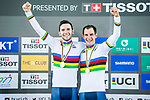 Morgan Kneisky and Benjamin Thomas of France celebrate winning in the Men's Madison 50 km Final's prize ceremony during the 2017 UCI Track Cycling World Championships on 16 April 2017, in Hong Kong Velodrome, Hong Kong, China. Photo by Marcio Rodrigo Machado / Power Sport Images