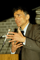 Montreal, CANADA, Undated file photo of Ralph Nader speaking in Montreal, circa 1987.<br /> <br /> Today,April 28, 2015 mark the 50th anniversary of Nader's book UNSAFE AT ANY SPEED.<br /> <br /> File Photo : Agence Quebec Presse - Pierre Roussel