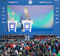 28.09.2014. Gleneagles, Auchterarder, Perthshire, Scotland. The Ryder Cup, final day.  General view of the stage at the closing ceremony after Sunday Singles.  Team Europe won the trophy sixteen and a half points to eleven and a half.