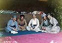 Iraq 1980 <br /> The library of Komala in Tujala with Diler, Aso Ali, Feridoun Abdel Kader, 1st left, Azad Hawrami, 2nd left and 2nd from right, Mamosta Jaffar<br /> Irak 1980<br /> La bibliothèque du Komala a Tujala avec Diler, Aso Ali , Feridoun Abdel Kader, 1er gauche, Azad Hawrami,2em gauche, Azad hawramiet 2eme a droite, Mamosta Jaffar