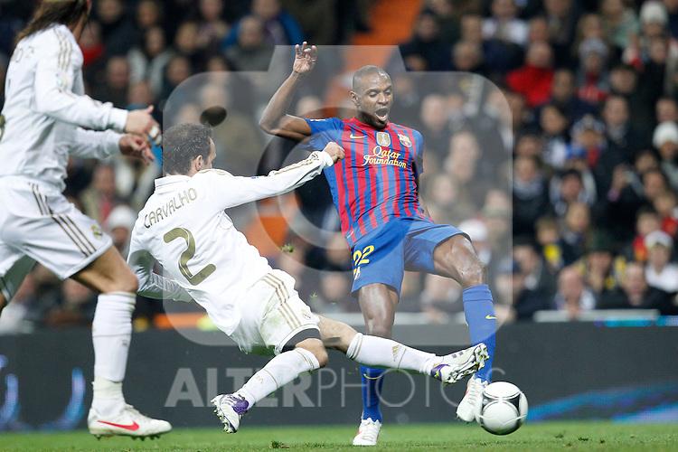 FC Barcelona's Eric Abidal goal during spanish King's Cup on January 18th 2012...Photo: Cesar Cebolla / ALFAQUI