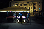 UKRAINE, Mariupol: Teenagers playing Air Hockey in the  park of Theater square.<br /> <br /> UKRAINE, Mariupol: Des adolescents jouent au Air Hockey dans le parc du Theater Square.