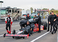 Oct 3, 2020; Madison, Illinois, USA; NHRA top fuel driver Steve Torrence and crew during qualifying for the Midwest Nationals at World Wide Technology Raceway. Mandatory Credit: Mark J. Rebilas-USA TODAY Sports