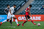 FC Seoul Midfielder Ju Se Jong (r) is chased by Auckland City Forward Ryan de Vries (l) during the 2017 Lunar New Year Cup match between Auckland City FC (NZL) vs FC Seoul (KOR) on January 28, 2017 in Hong Kong, Hong Kong. Photo by Marcio Rodrigo Machado/Power Sport Images