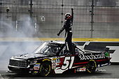 NASCAR Camping World Truck Series<br /> North Carolina Education Lottery 200<br /> Charlotte Motor Speedway, Concord, NC USA<br /> Friday 19 May 2017<br /> Kyle Busch, Cessna Toyota Tundra celebrates his win with a burnout<br /> World Copyright: Nigel Kinrade<br /> LAT Images<br /> ref: Digital Image 17CLT1nk05327