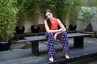 ***NO REPRODUCTION FEE PICTURE***.01/02/12 Model Karen Fitzpatrick wears an Orange Broderie Anglaise Blouse at EUR35 and a Floral Palazzo Pants at EUR45 pictured at the Morrison Hotel, Dublin this morning at the launch of the A Wear Spring Collection 2012...Picture Colin Keegan, Collins, Dublin. .***NO REPRODUCTION FEE PICTURE***