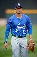 Hartford Yard Goats third baseman Josh Fuentes (13) before a game against the Erie SeaWolves on August 6, 2017 at UPMC Park in Erie, Pennsylvania.  Erie defeated Hartford 9-5.  (Mike Janes/Four Seam Images)