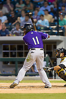 Jason Bourgeois (11) of the Louisville Bats at bat against the Charlotte Knights at BB&T Ballpark on June 26, 2014 in Charlotte, North Carolina.  The Bats defeated the Knights 6-4.  (Brian Westerholt/Four Seam Images)