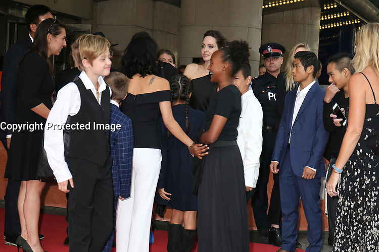 SHILOH, SAHARA AND PAX JOLIE-PITT WITH ANGELINA JOLIE - RED CARPET OF THE FILM 'FIRST THEY KILLED MY FATHER' - 42ND TORONTO INTERNATIONAL FILM FESTIVAL 2017
