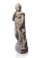 Roman statue of Demiougous, 2nd century AD from Hierapolis. Hierapolis Archaeology Museum, Turkey. Against an white background