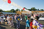 Particpants perform traditional Japanese dance at the Obon Festival at Oregon Buddhist Temple, Portland, Oregon