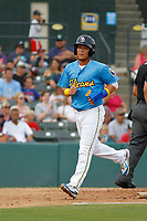 Myrtle Beach Pelicans outfielder D.J. Wilson (4)  after scoring a run during a game against the Potomac Nationals at Ticketreturn.com Field at Pelicans Ballpark on July 1, 2018 in Myrtle Beach, South Carolina. Myrtle Beach defeated Potomac 6-1. (Robert Gurganus/Four Seam Images)