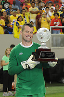 Manchester City goalkeeper displays the championship trophy. The 2010 Atlanta International Soccer Challenge was held, Wednesday, July 28, at the Georgia Dome, featuring a match between Club America and Manchester City. After regulation time ended 1-1, Manchester City was awarded the victory, winning 4-1, in penalty kicks.