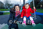 Little Anna Slade with her mom Kate, enjoying the playground in the Tralee town park on Sunday.
