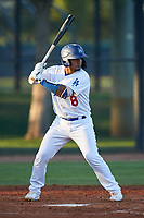 AZL Dodgers Lasorda Wladimir Chalo (8) at bat during an Arizona League game against the AZL Athletics Green at Camelback Ranch on June 19, 2019 in Glendale, Arizona. AZL Dodgers Lasorda defeated AZL Athletics Green 9-5. (Zachary Lucy/Four Seam Images)