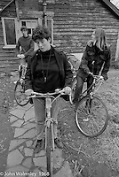Waiting to set off on a bike ride, Summerhill school, Leiston, Suffolk, UK. 1968.