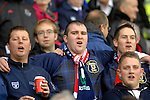 International Friendly match between Wales and Scotland at the new Cardiff City Stadium : Scottish football fans.