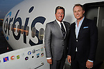 Hosts Brian Teichman  and Andrew Cordes at a welcome reception for the Orbis Flying Eye Hospital at Ellington Airport Tuesday Oct. 20,2015.(Dave Rossman photo)