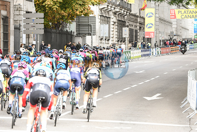 The peloton during Stage 3 of the CERATIZIT Challenge by La Vuelta 2020, running 98.6km around the streets of Madrid, Spain. 8th November 2020.<br /> Picture: Antonio Baixauli López/BaixauliStudio   Cyclefile<br /> <br /> All photos usage must carry mandatory copyright credit (© Cyclefile   Antonio Baixauli López/BaixauliStudio)