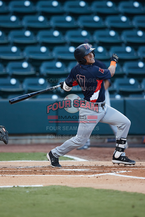 Pedro Martinez (17) of the Bowling Green Hot Rods follows through on his swing against the Winston-Salem Dash at Truist Stadium on September 7, 2021 in Winston-Salem, North Carolina. (Brian Westerholt/Four Seam Images)