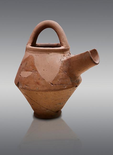 Hittite terra cotta side spout with stainer basket handles pitcher . Hittite Period, 1600 - 1200 BC.  Hattusa Boğazkale. Çorum Archaeological Museum, Corum, Turkey
