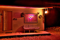 Open motel late at night.
