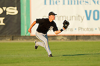 Center fielder Collin Kuhn #36 of the Bristol White Sox makes a running catch of a sinking line drive against the Burlington Royals at Burlington Athletic Park on July 10, 2011 in Burlington, North Carolina.  The White Sox defeated the Royals 4-3.   (Brian Westerholt / Four Seam Images)