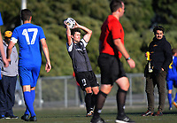 Action from the Central League football match between Wellington Olympic and Napier City Rovers at Wakefield Park in Wellington, New Zealand on Saturday, 24 April 2021. Photo: Dave Lintott / lintottphoto.co.nz