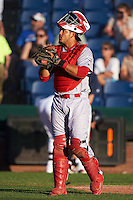 Reading Fightin Phils catcher Jorge Alfaro (11) during a game against the Portland Sea Dogs on May 31, 2016 at Hadlock Field in Portland, Maine.  Reading defeated Portland 6-4.  (Mike Janes/Four Seam Images)