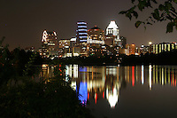 Majestic view of the Austin Skyline reflecting on Town Lake.