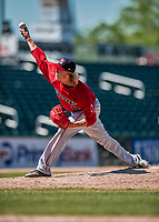 31 May 2018: Portland Sea Dogs pitcher Jordan Weems on the mound against the New Hampshire Fisher Cats at Northeast Delta Dental Stadium in Manchester, NH. The Sea Dogs rallied to defeat the Fisher Cats 12-9 in extra innings. Mandatory Credit: Ed Wolfstein Photo *** RAW (NEF) Image File Available ***