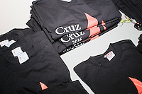 Campaign t-shirts lay on a table before Texas senator and Republican presidential candidate Ted Cruz speaks to a crowd at the kick-off event at his New Hampshire campaign headquarters in Manchester, New Hampshire.