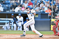 Asheville Tourists Will Golsan (8) swings at a pitch during a game against the Lakewood BlueClaws at McCormick Field on June 14, 2019 in Asheville, North Carolina. The BlueClaws defeated the Tourists 7-5. (Tony Farlow/Four Seam Images)