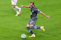ST PAUL, MN - SEPTEMBER 27: Chase Gasper #77 of Minnesota United FC passes the ball during a game between Real Salt Lake and Minnesota United FC at Allianz Field on September 27, 2020 in St Paul, Minnesota.