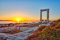 The sunset from Portara in Chora of Naxos island, Greece