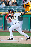 Carlos Perez (19) of the Salt Lake Bees bats against the El Paso Chihuahuas in Pacific Coast League action at Smith's Ballpark on May 1, 2017 in Salt Lake City, Utah.  Salt Lake defeated El Paso 9-4. (Stephen Smith/Four Seam Images)