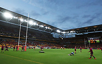 7th November 2020, Brisbane, Australia; Tri Nations International rugby union, Australia versus New Zealand;  General view as The Allblacks warm up