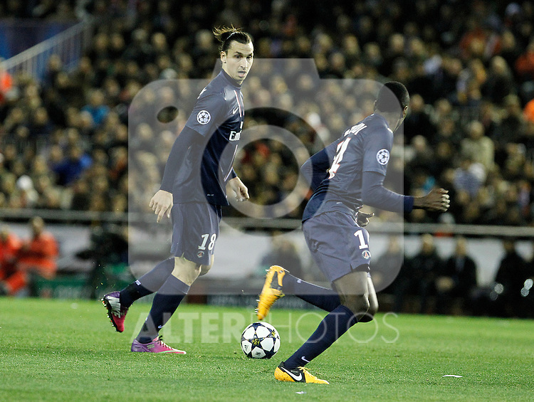 Paris Saint-Germain's Zlatan Ibrahimovic (l) and Blaise Matuidi during Champions League 2012/2013 match.February 12,2013. (ALTERPHOTOS/Acero)
