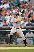 Johnny Damon of the New York Yankees at bat versus the Detroit Tigers at Comerica Park April 27, 2009 in Detroit, Michigan.  Photo by Brian Westerholt / Four Seam Images