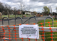 A sign explaining the closure of a park within the Rye playing field in High Wycombe during the Covid-19 pandemic where the country is in a restricted lockdown. <br /> Photo by Andy Rowland on April 3rd 2020.