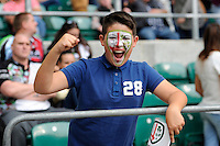 A young London Irish fan during the Premiership Rugby Round 1 match between London Irish and Harlequins at Twickenham Stadium on Saturday 6th September 2014 (Photo by Rob Munro)