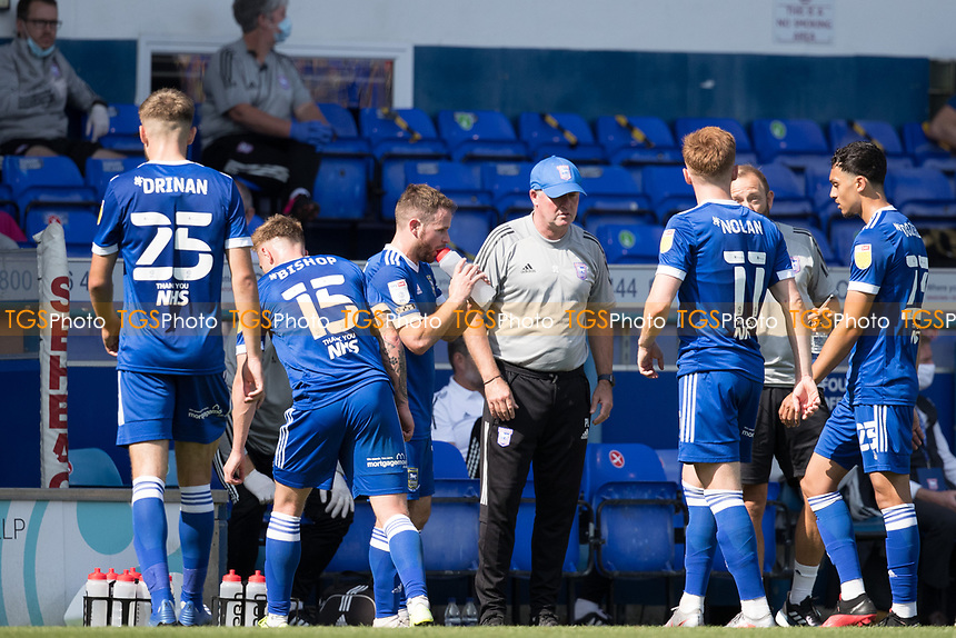 Paul Lambert, Manager of Ipswich Town with his side at the drinks interval during Ipswich Town vs Wigan Athletic, Sky Bet EFL League 1 Football at Portman Road on 13th September 2020